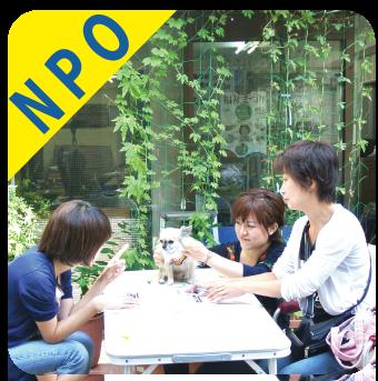 テーブルを囲んで3人の女性スタッフが話し合っている写真(テーブルの上にはホープのマスコット犬・インディがお座りしている)